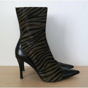 ENZO ANGIOLINI Pony Leather Zebra Print Boot Heels